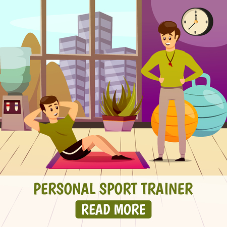 Personal sport trainer background with man during physical exercise on mat near instructor with whistle vector illustration Ilustração