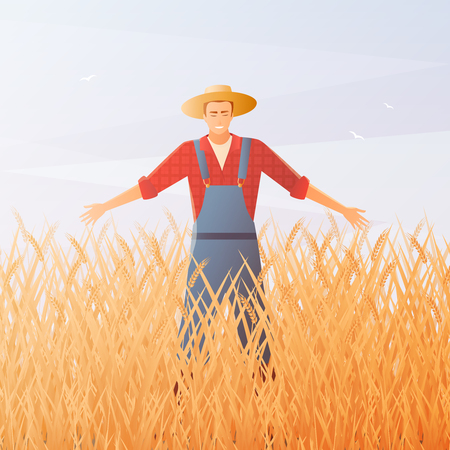 Joyful farmer and crop harvest on gradient sky background with flying birds flat composition vector illustration