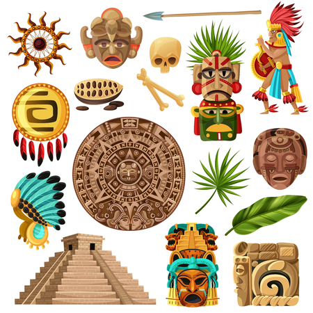 Coloridos iconos decorativos mexicanos et con símbolos de la historia de la cultura maya tradicional y la ilustración de vector de dibujos animados de religión aislada