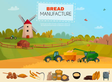 Bread manufacture poster with cereal harvesting on natural landscape background, icons set with flour products vector illustration   Illustration