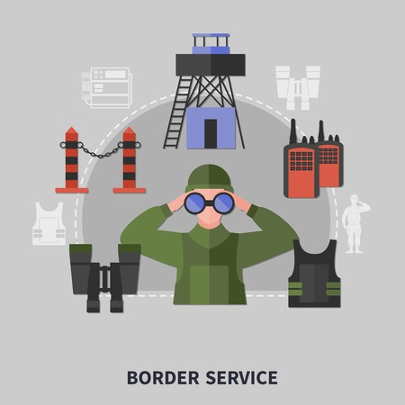 Border guard service equipment concept with man looking thorough binoculars on grey background flat vector illustration