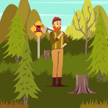 Man-made disastrous deforestation environmental hazard orthogonal forestry background poster with woodcutter among tree stumps vector illustration  Vettoriali