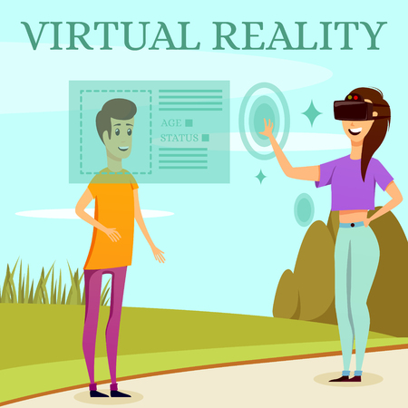 Augmented reality orthogonal composition on nature background with man and girl in virtual glasses flat vector illustration