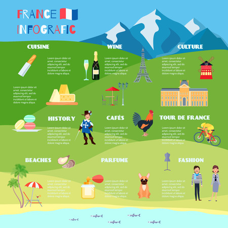 France infographic set with cuisine wine and resort symbols flat vector illustration Ilustracja