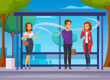 Smoking danger cartoon composition with young people waiting transport at bus stop and smoking outdoors vector illustration