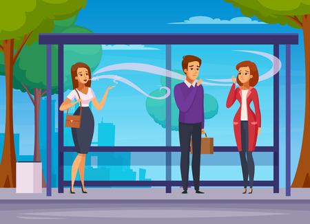 Kompozycja kreskówka niebezpieczeństwo palenia z młodymi ludźmi czekającymi na transport na przystanku autobusowym i ilustracji wektorowych na zewnątrz palenia