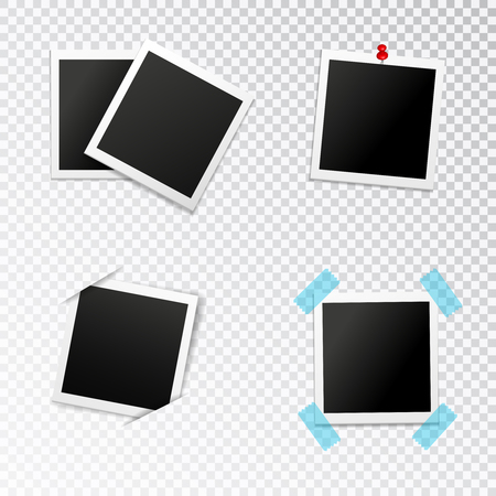 Photo frames set with insertion in slits push pin and scotch on transparent background isolated vector illustration Illustration
