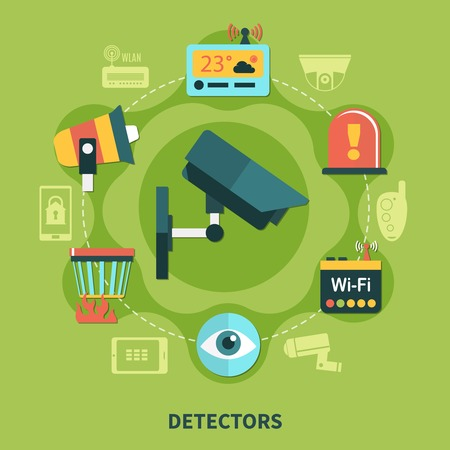 Detectors for home security round composition with fire warning, surveillance system on green background flat vector illustration