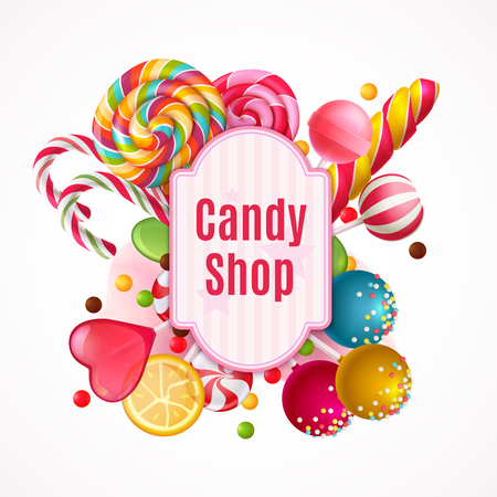 Decorative frame with realistic candies, colorful lollipops of various shape on white background vector illustration