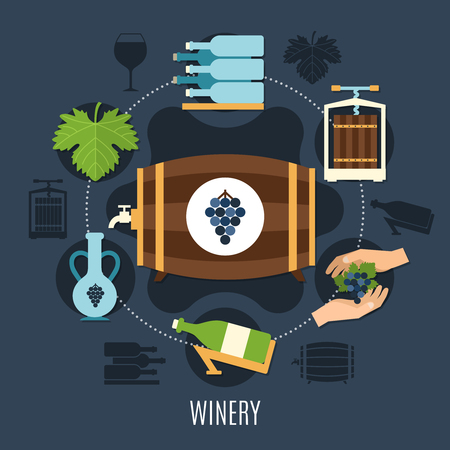 Winery flat concept with wine bottles and casks on dark background vector illustration Illustration