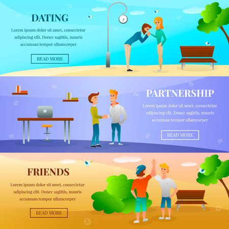 Horizontal banners with human characters with gestures during dating, friends meeting, greeting of partners isolated vector illustration
