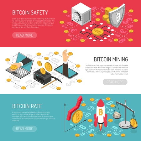 Bitcoin cryptocurrency secure transactions and mining 3 horizontal isometric banners set with money raising  symbol vector illustration