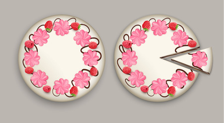 Cake top view realistic composition with two white cake one is whole and another with cut piece vector illustration