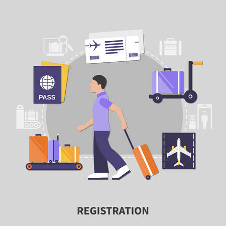 Flat design airport registration concept with man and his luggage vector illustration