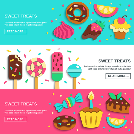 Sweets candies donuts lollies kids party funny treats 3 flat horizontal banners confectionery webpage design vector illustration Illustration