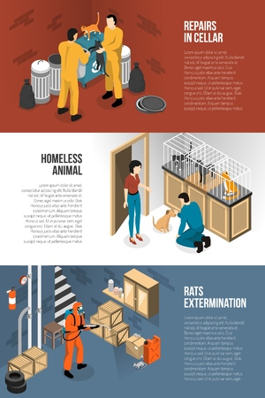 Animal control services isometric horizontal banners set with rescue groups shelters and rats extermination isolated vector illustration  Illustration