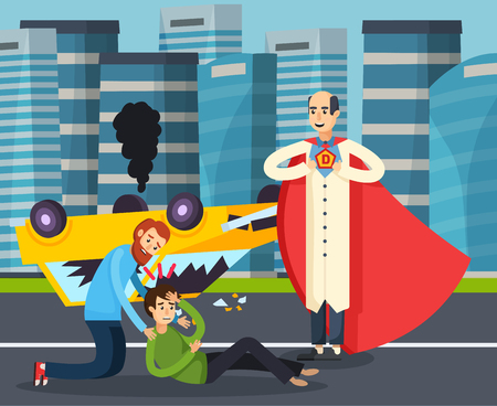 ダッシュドライブ漫画ベクトルイラストの結果として交通事故後ティーンエイジャーとスーパーヒーロー都市フラット背景