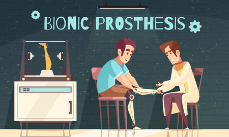 Bionic prosthesis doctor illustration with doodle human characters of patient and doctor installing artificial legs vector illustration
