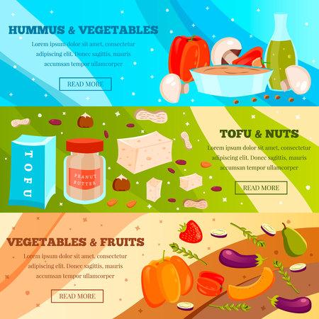 De vegetarische voedselreeks vlakke horizontale banners met groenten en fruit, tofu en noten isoleerde vectorillustratie