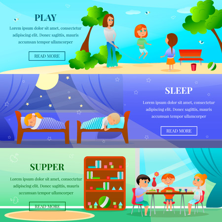 Kindergarten characters set of horizontal banners with kids during outdoor games, eating and sleep isolated vector illustration