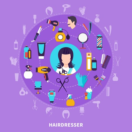 Hairdresser round composition with icon set combined in big circle and with elements of hairdresser tools vector illustration