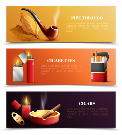 Tobacco products set of horizontal banners with smoking pipe, cigarettes and lighters, cigars isolated vector illustration Çizim