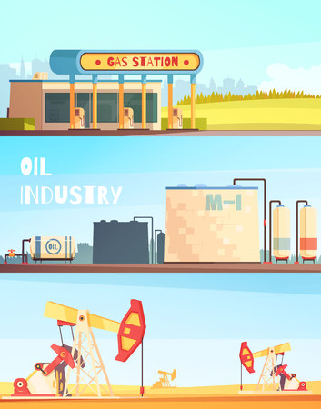 Oil production horizontal banners collection with sunny landscape images of pumping units refinery plant and fuel station vector illustration
