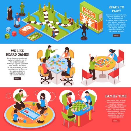 Set of horizontal isometric banners with people playing board games isolated on colorful background vector illustration  Ilustração