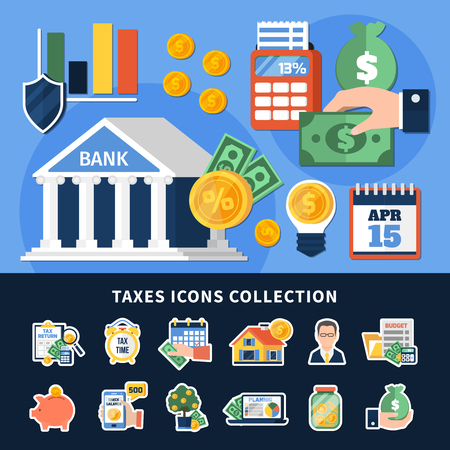 Taxes icons collection with budget planning, duty calculation, document forms, money, computer technologies isolated vector illustration
