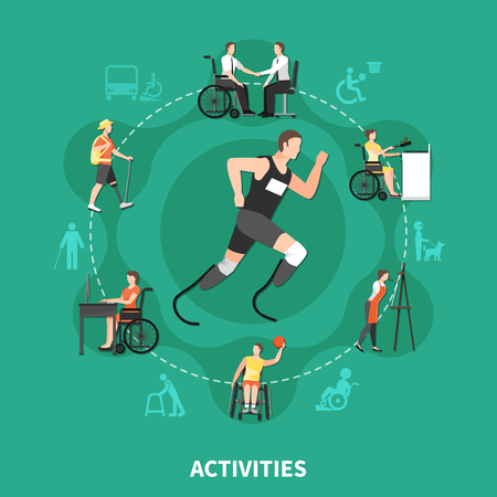 Flat and colored disabled person concept with activities headline and people with disabilities find their own hobbies Illustration