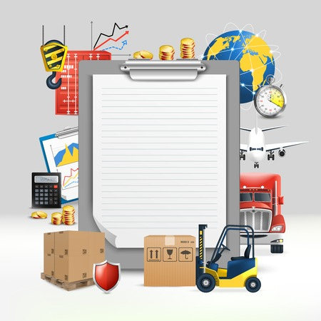 Logistic transportation composition with paper tablet for notes and means of transport vector illustration Standard-Bild - 99869013