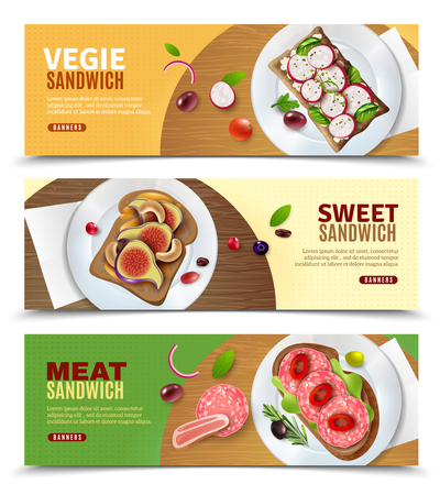 Three advertising horizontal banners with recipe of preparation veggie sweet and meat sandwiches vector illustration Standard-Bild - 99737162