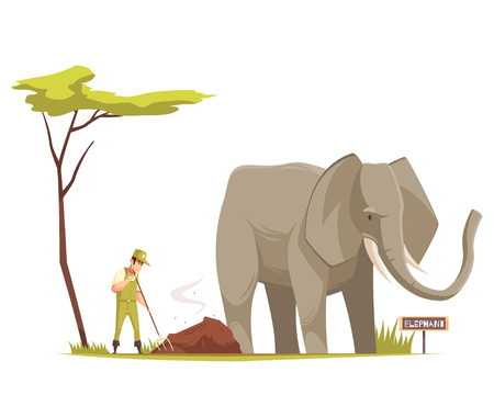 Elephant standing outdoor and zoo keeper at work  cleaning territory under tree cartoon composition vector illustration  Ilustração