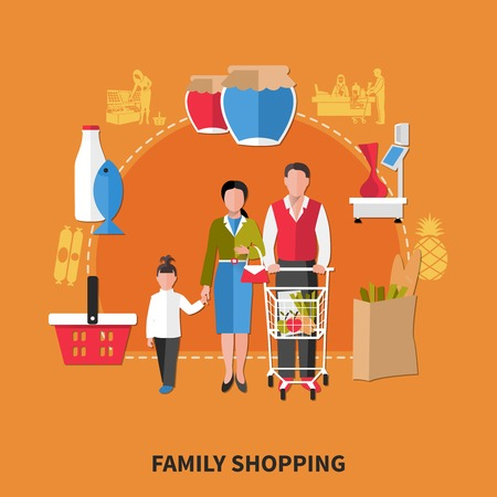 Family shopping composition on orange background with adults and kid, food products, equipment of supermarket vector illustration