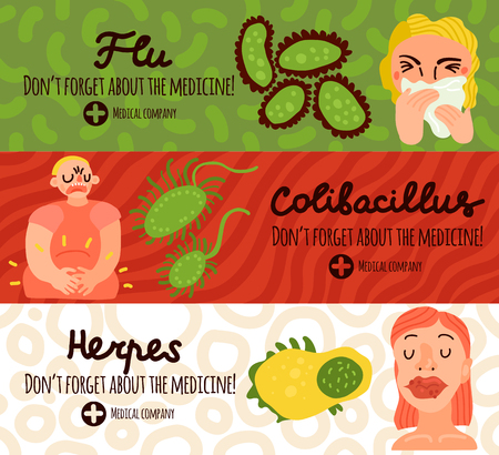 Human viruses horizontal banners set with herpes symbols flat isolated vector illustration