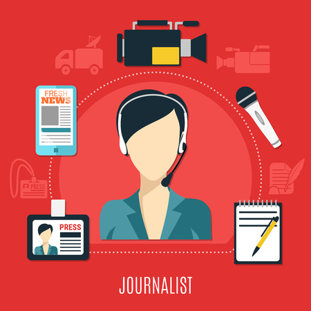 Journalist design concept with set of accessories for creative work so as video camera paper notepad badge pen flat vector illustration