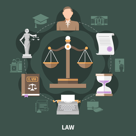 Law round composition of isolated legal system vintage style related icons and brief case silhouette pictograms vector illustration