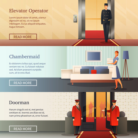 Hotel staff horizontal banners with elevator operator, maid with bed linen, doorman near entrance isolated vector illustration Ilustração