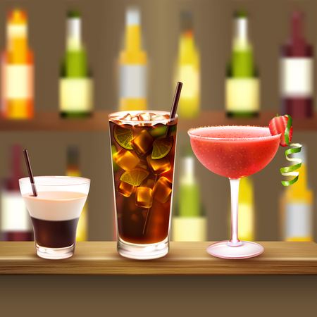 Drinks realistic composition with wooden bar counter and three different cocktails with alcololic drink bottles on background vector illustration