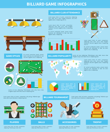 Billiard game infographics with world map, information about players, tournaments, sports equipment on blue background vector illustration