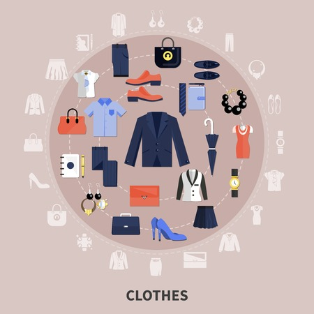 Round Clothes composition with icon set combined in big circle and flat elements vector illustration
