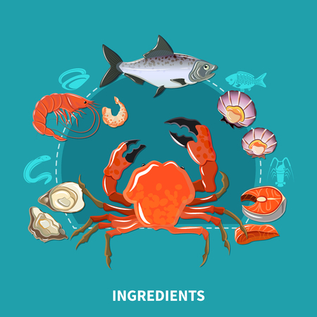 Sushi ingredients composition with carcasses of sea inhabitants from which make sushi vector illustration