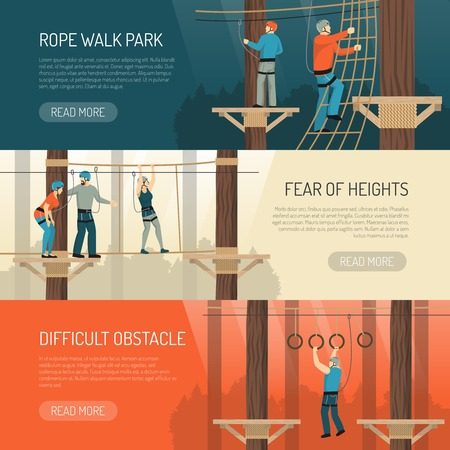 High rope walk outdoor activities for balance and coordination 3 flat horizontal banners webpage design vector illustration