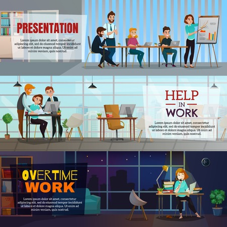 Multitasking horizontal banners with corporate partnership business presentation and overtime work flat compositions vector illustration