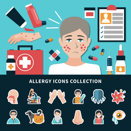 Allergens allergy symptoms and ways of treatment icons collection. Flat isolated vector illustration.
