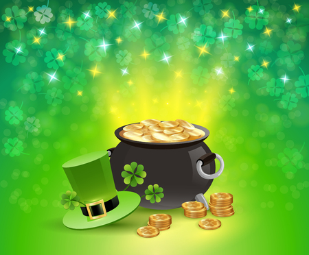 St patricks holiday sparkling background with pot of gold, leaves of clover, hat of leprechaun vector illustration  Illustration