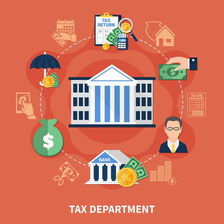 Tax department round composition on red background with office building, bank, financial advisor, reports, money vector illustration