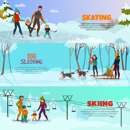 Winter recreation horizontal banners set with skating and skiing symbols flat isolated vector illustration