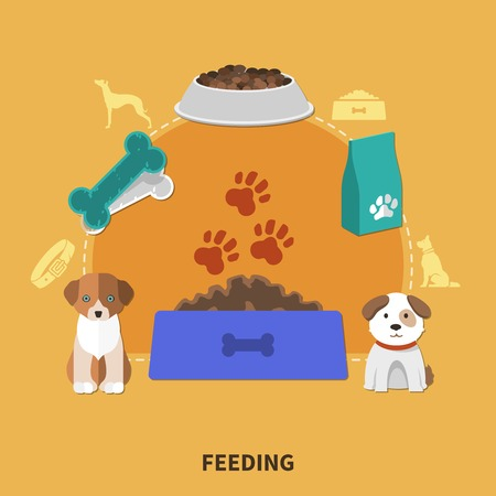 Dogs composition with two small puppy characters images of bowlful and pet food packages with silhouettes vector illustration 일러스트