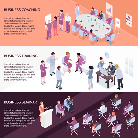 Set of horizontal isometric banners with people during business coaching, corporate training and seminar isolated vector illustration  Illustration